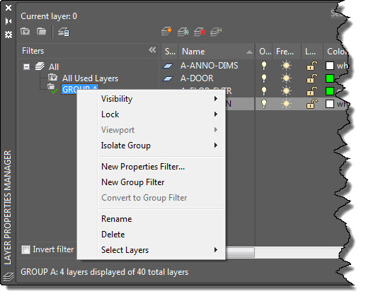 AutoCAD Layer Filters Right-Click Menu