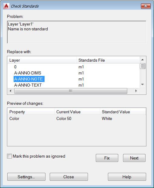 AutoCAD CAD Standards Problem Found