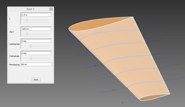 A form to adjust the aerofoil model