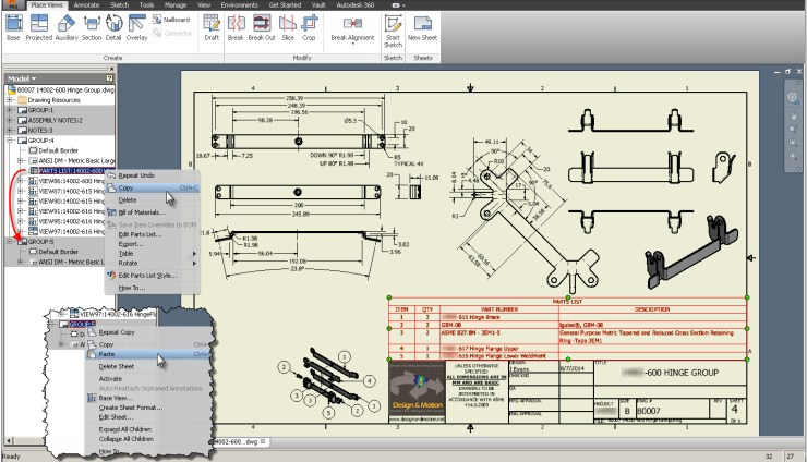 Autodesk Inventor Copy Paste View
