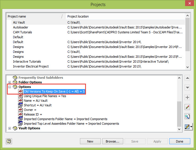 Autodesk Vault Inventor Project File Old Versions Setting