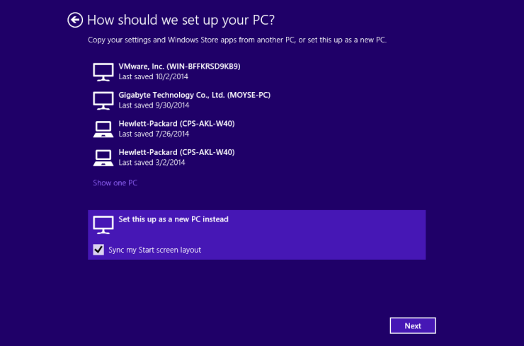Windows 10 PC Sync Setup
