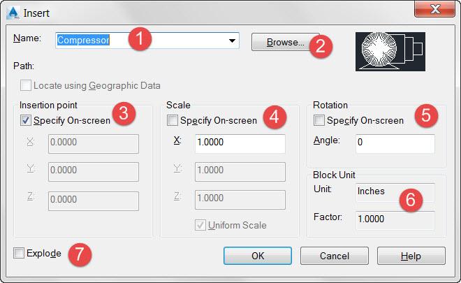 AutoCAD Block Insert Dialog