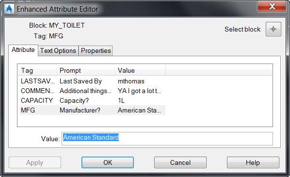 AutoCAD Enhanced Attribute Editor