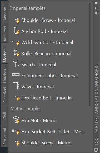 AutoCAD's Tool Palette