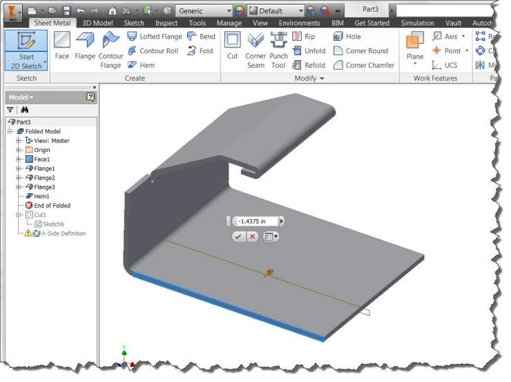 Inventor - Offset Workplane While Defining Sketch