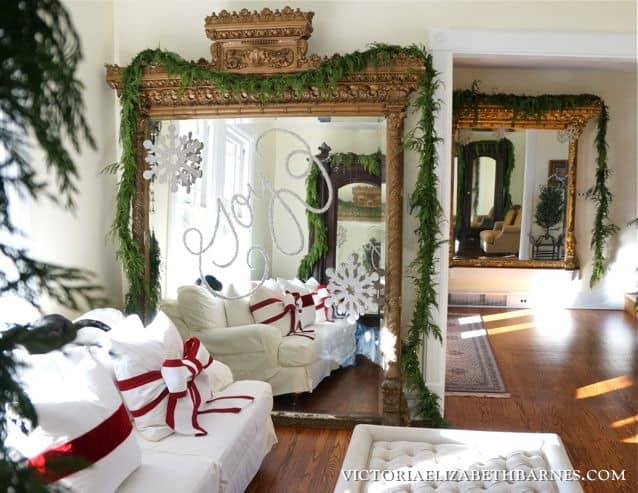 Decorating-our-Victorian-home-for-Christmas…-I-used-glitter-to-write-on-the-giant-gilded-mirror-I-scored-on-Craigslist...