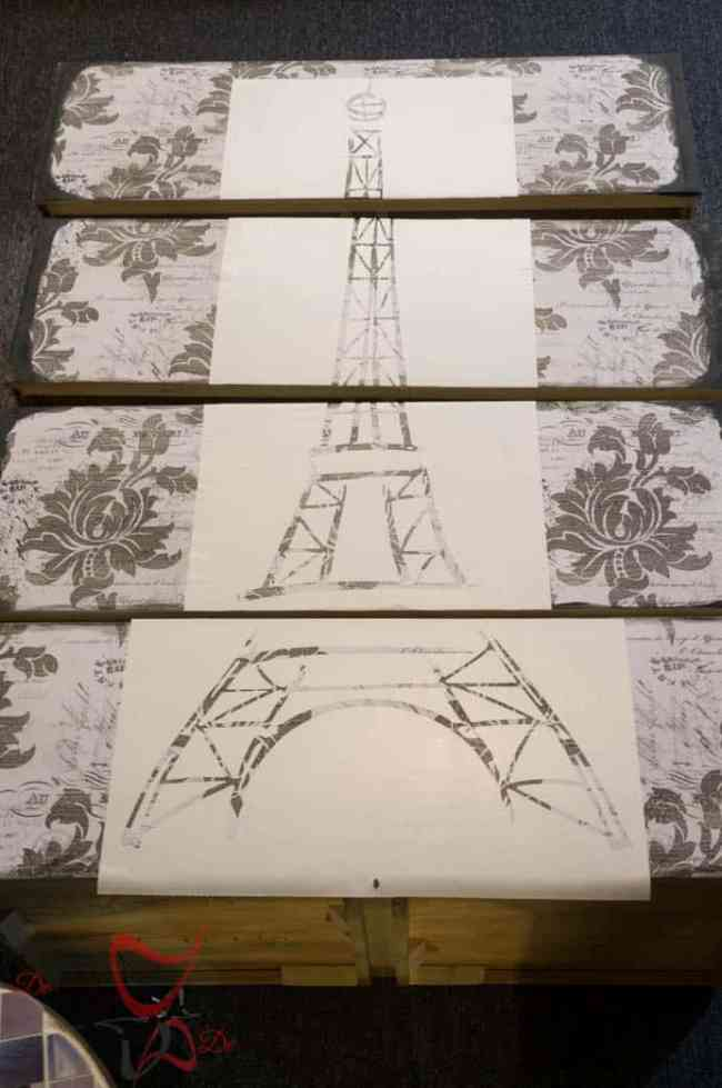 Eiffel Tower Dresser- How to make a large furniture stencil