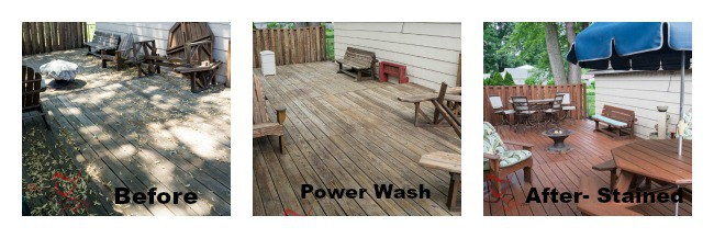 Before - After - How to clean and stain a wood deck