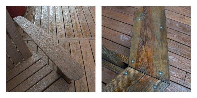 Stain the wood deck before and after