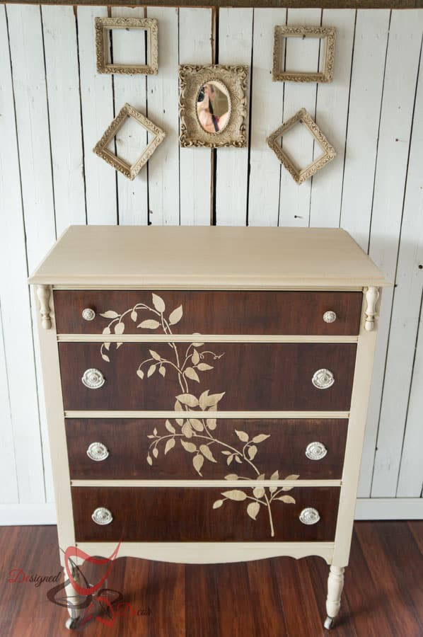 Stenciled wood dresser designed decor for Painting designs on wood furniture