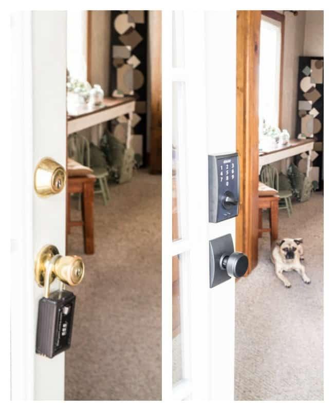 Schlage keyess locks- door makeover- before-after
