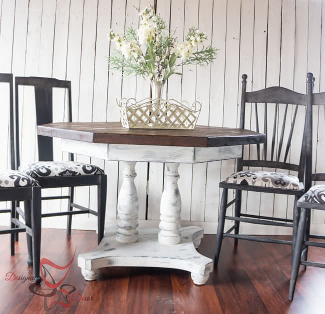 Farmhouse Style Dining Table- Shabby Chic-Repainted Furniture- DIY- Round Dining Table and Chairs- Le Dirt- Aging Dust (8 of 15)