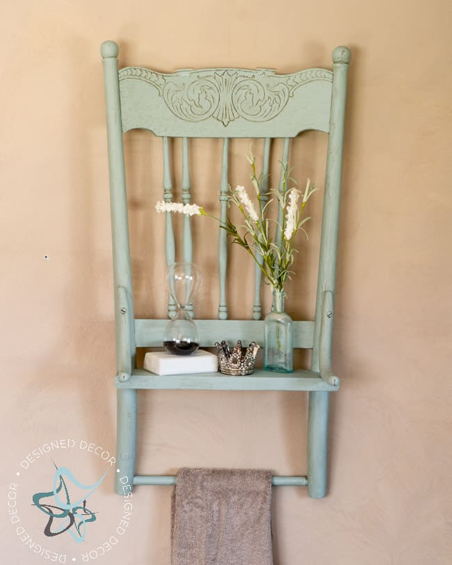 Repurposed Chair Shelf-Towel Holder--9