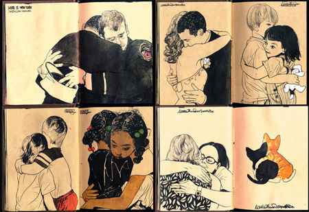 hugging sketchbook