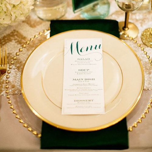 gold charger plates wedding