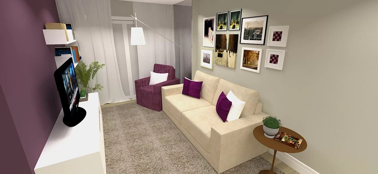 Sala De Estar Roxa E Cinza ~  de sala? Veja outros projetos de ambientes de salas de estar e jantar