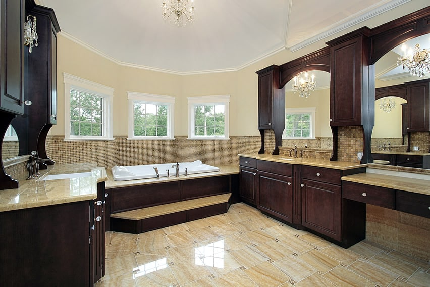 spacious bathroom that has a beautiful contrast of dark and light colors luxury accessories furniture cabinet