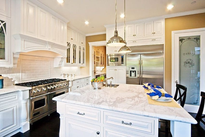 Luxury White Cabinet Kitchen With Marble Countertops Cabinets78