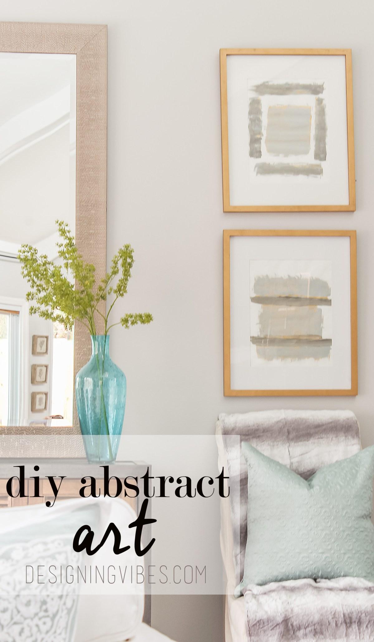 DIY gold and grey abstract art tutorial