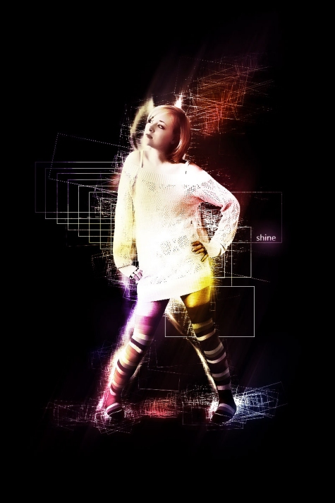 Design a Shining Girl Poster with Awesome Lighting Effect in Photoshop