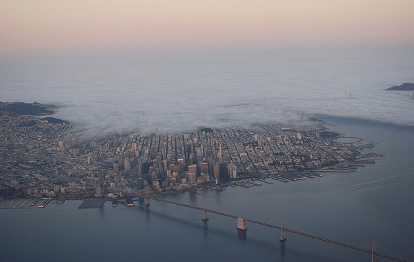 Flying over Silicon Valley San Francisco Golden Gate Bridge