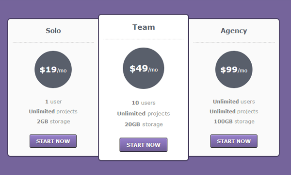 css3 html5 pricing table buttons freebie