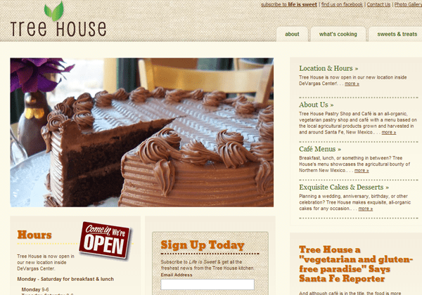 treehouse pastry shoppe website layout designs