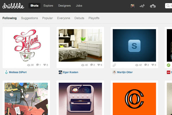 dribbble design social media interface layout