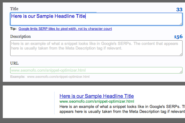 seo snippets optimizer seomoz online seomofo