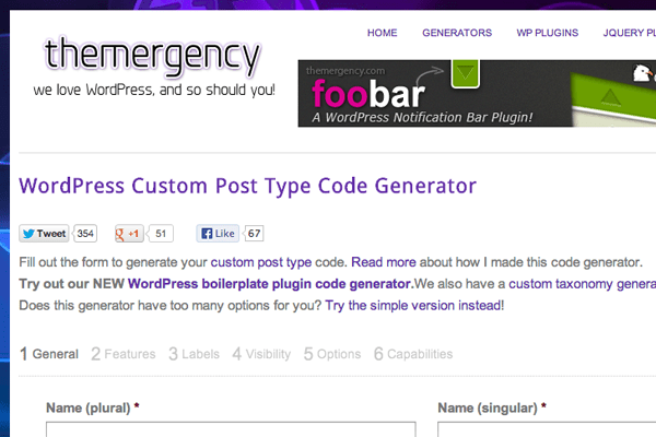 Wordpress custom post types generator