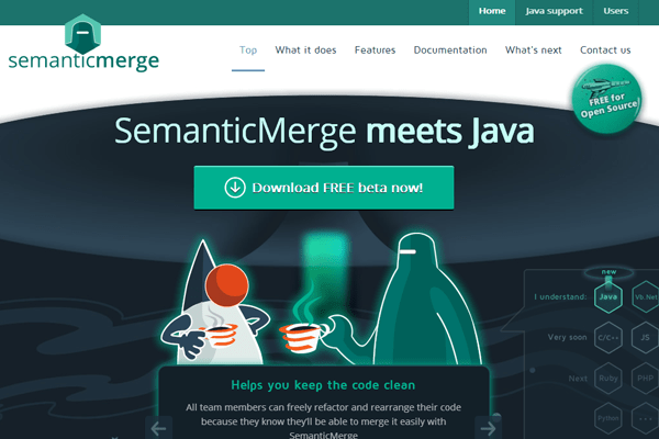 semanticmerge website homepage parallax branding java programming