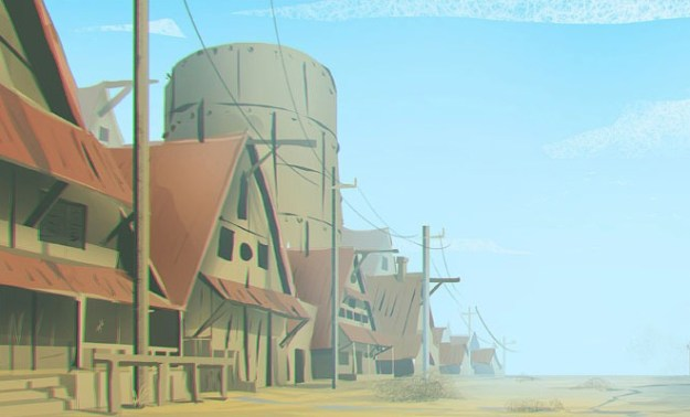 simple country town artwork illustration