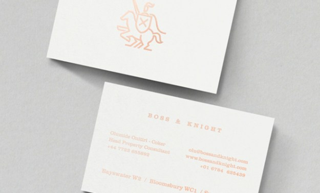 boss and knight print business card design inspiration