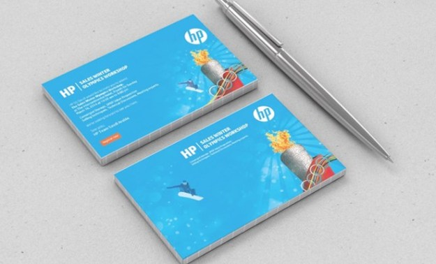winter olympics event hewlett packard business cards identity