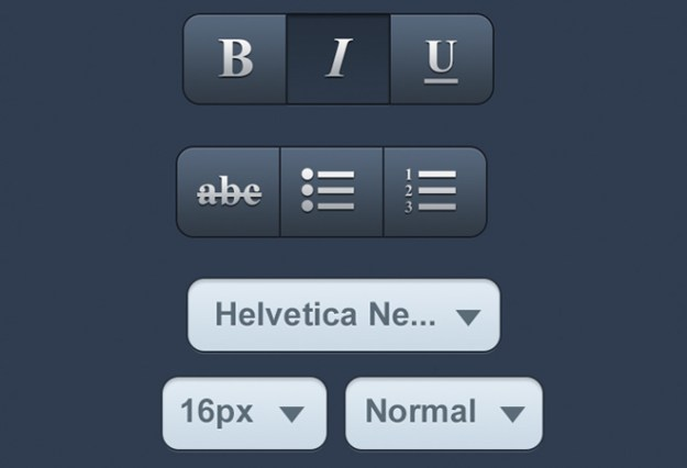 dark photoshop ios buttons and select menu preview