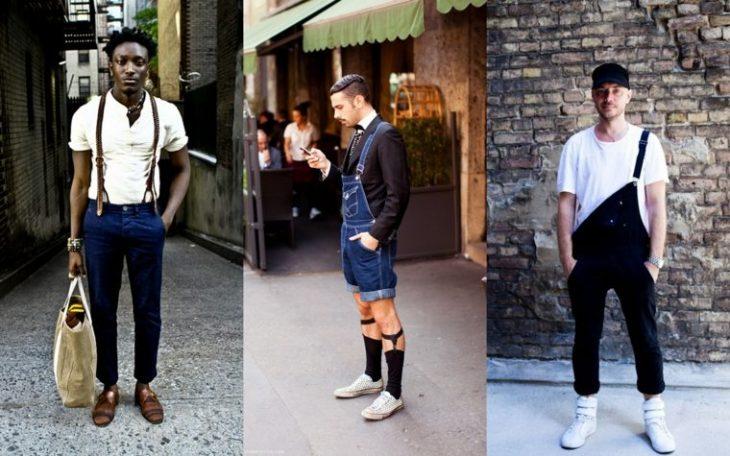 tendance homme chemise blanche sac beige combinaison jean