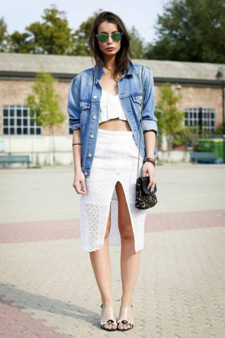 veste jean printemps femme mode tendance denim jupe blanche