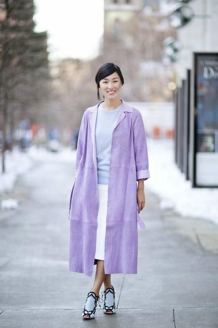 veste printemps longue couleur lavande chaussures design