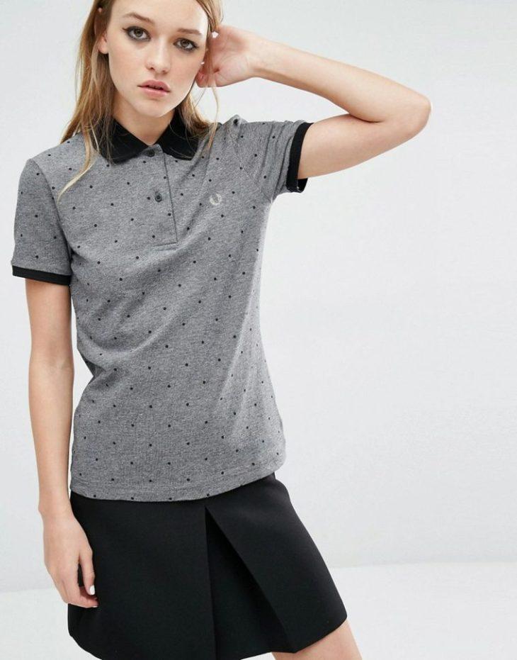 femme t-shirt pois manches courtes fred perry jupe noire courte