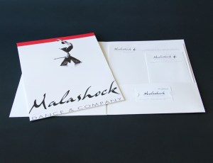 Malashock Dance & Company press kit folder and stationery