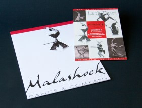 Malashock Dance & Company press kit folder and postcard