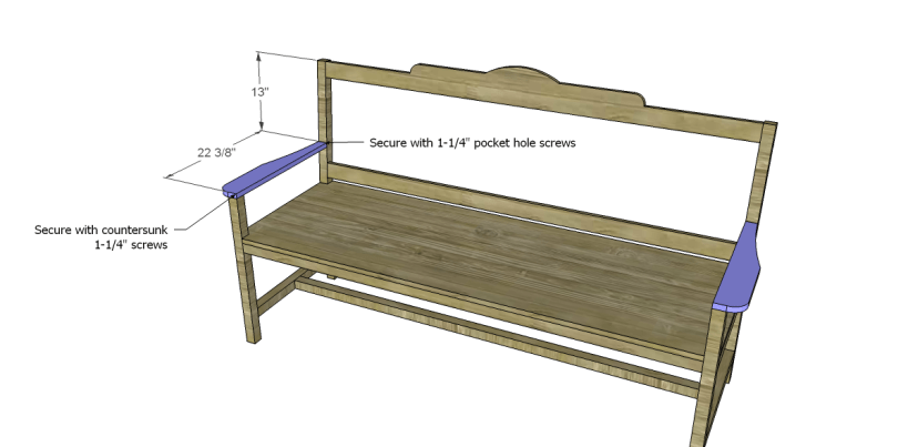 free plans to build a bench with arms_Arms