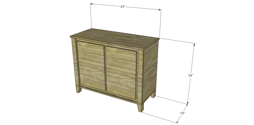 free DIY woodworking plans to build a two door sideboard