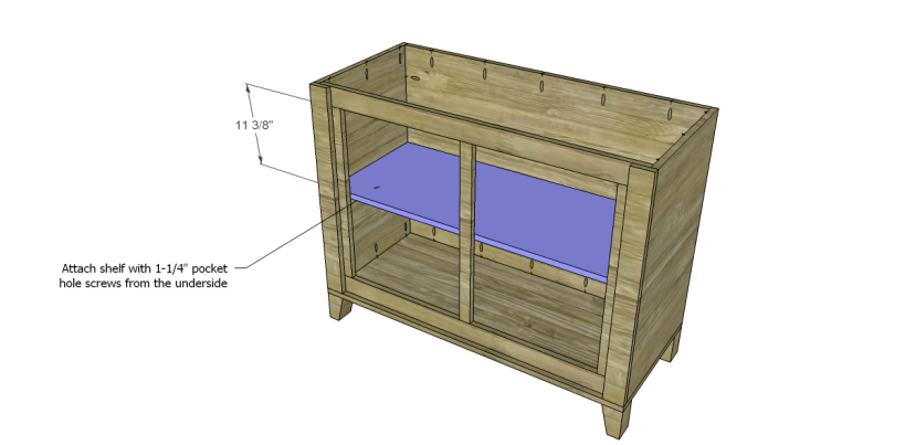 free DIY woodworking plans to build a two door sideboard_Shelf 2