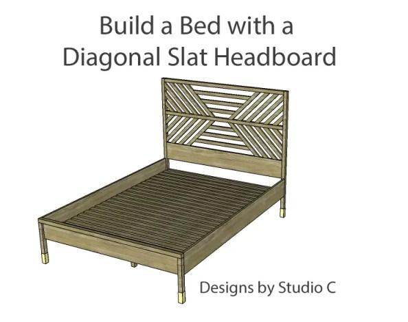 build bed diagonal slatted headboard_copy