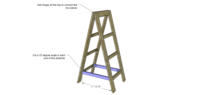 a-frame bookshelf plans_Stretcher