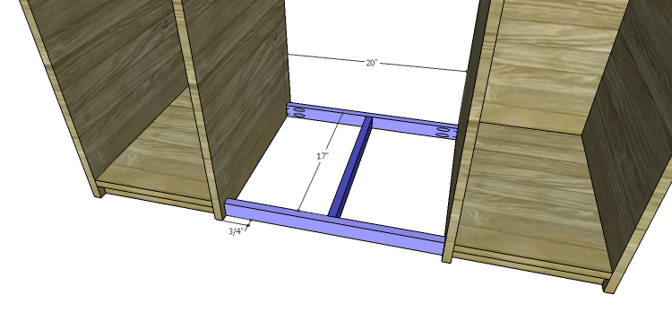DIY Mini Fridge Cabinet Plans-Center Bottom Supports