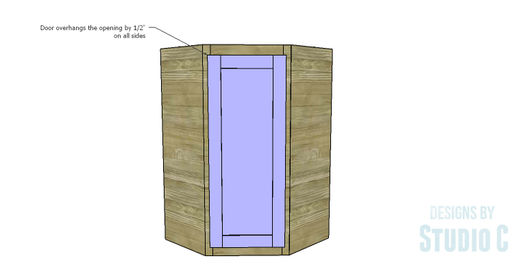 DIY Plans to Build a Tall Diagonal Face Upper Corner Cabinet_Door 2