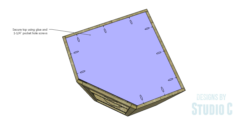 DIY Plans to Build a Tall Diagonal Face Upper Corner Cabinet_Top